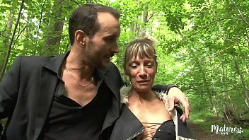 Mature couple from the country having sex in the forest