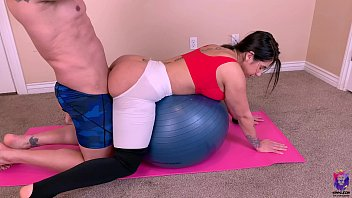 Amateur wife start  yoga class with a big dick in her pussy