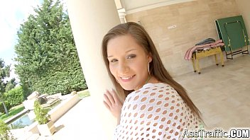Asstraffic brunette doggystyle anal on the sofa