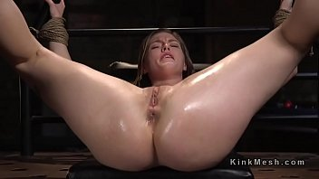 Flogged pussy - Blonde learning bdsm lesson with electricity