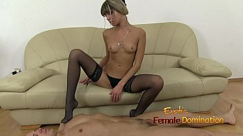 Gina wears black stockings while strokes cock with her feet 10 min