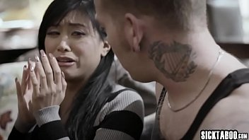 Petite Asian MILF banged and blowjob by a tattooed guy