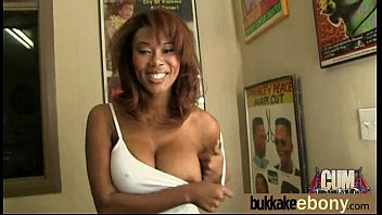 Ebony babe sucks too many white cocks 9