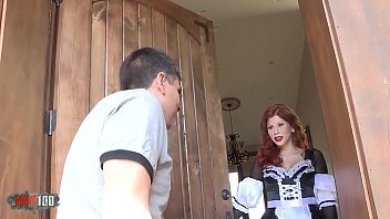 Redhead french maid hardfucked