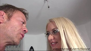 Blonde chick Dora gets banged hard from behind by Rocco filmed in POV style