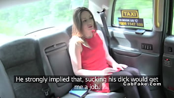 Hottie in red dress sucking in fake taxi thumbnail