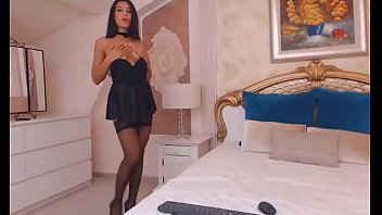 Sexy women in evenig wear Amazing latina camgirl wearing black nylon stockings and black skirt do real orgasm with dildo on we