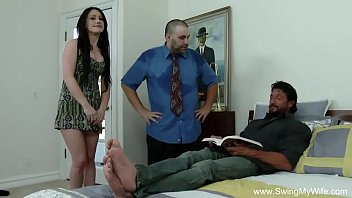 Swinging husbands - Swinger husband gives his wife away