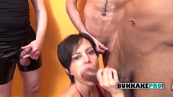 Short haired milf gets mouthfucked and cummed by multiple hard cocks