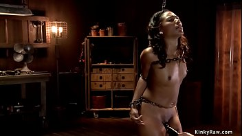 Chained hot ebony slave vibrated