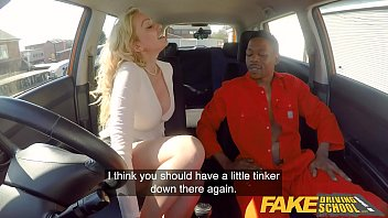 Fake Driving School Big black cock goes deep into Amber Jayne