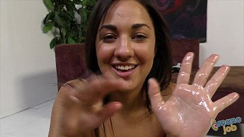 Amara Romani takes facial after tugjob