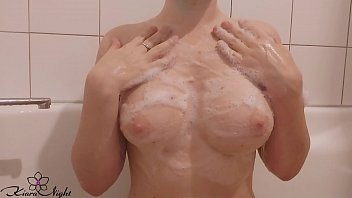 Horny Babe Foam Washes and Jerks Pussy with Wash Sponge in the Bath