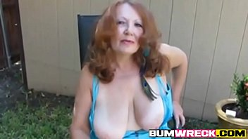 Hot Redhead Mature Amateur Cougar Smoking Solo