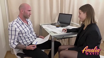 Job interview is out of control - Horny Amalia with big natural boobs get fucked with her future boss