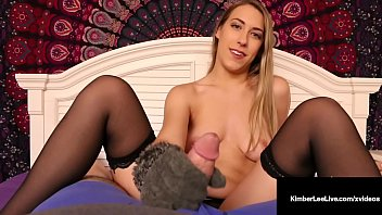 Hot Young Kimber Lee Strokes Cock With Soft Winter Gloves!