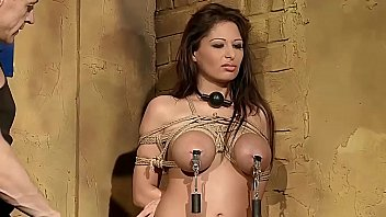 Busty woman Alison tied up and gets BDSM lessons. Part 1.