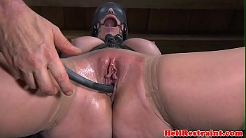 Bound bdsm sub gagged before nt with tools