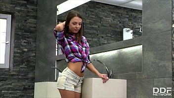 Teen tie shirt Scrumptious teen sweetheart foxy di fingers her shaved pink in the shower