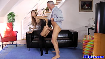 Tiny euro sharing oldmans cock with milf