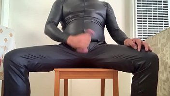 Jacking off in my leather pants and leather suit