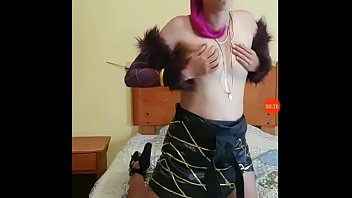 Beautiful horny cosplayer playing with her boyfriend 5 min