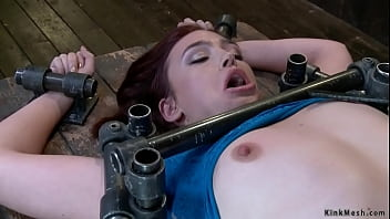 Slave pussy and clit tickled in device bondage 5 min
