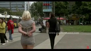 Blonde walked naked in public before getting fucked in rough bdsm sex video