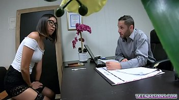 Nerdy Asian teen applicant Lexi Mansfield shows her hidden fucking skills during her 1st day of work as a secretary.