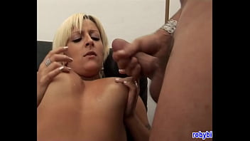 Beautiful blonde masturbates in the office before opening her ass for the boss
