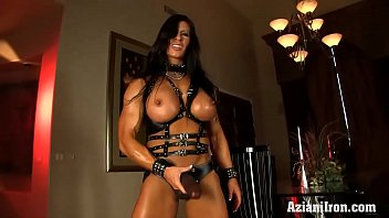 Hot sexy strong female thighs Aziani iron angela salvagno in leather with strap-on