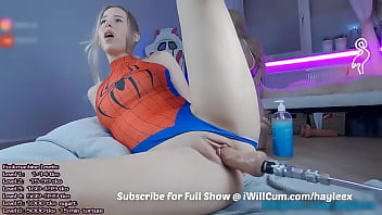 PAWG Spider Woman Cumming All Over Mechanical Dildo