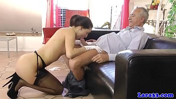 Stockinged english milf cockriding in trio