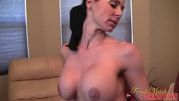 Muscular porn star Kendra Lust fucks two guys