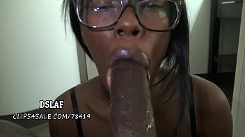 Lip stick on dick - Jamaican nerd gives amazing sloppy head- dslaf