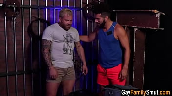 Gay stepbrothers fuck in bdsm dungeon