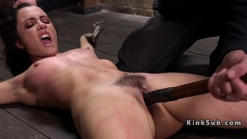 Tied up on the floor slave toyed