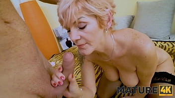 MATURE4K. Mature flapper greedily sucks and makes it vaginally with guy