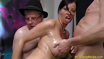 busty german Milf gets oiled and banged
