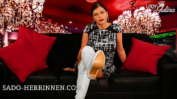 Lady Julina's white boots for the thorough boot slave