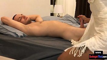 Young amateur couple with Asian GF great morning sex