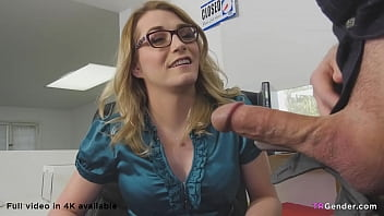 Sexy secretarie Candy Marie plowed by white male