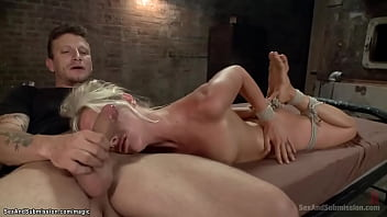 Bound and fucked in the mouth and abusive pussy