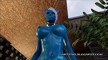 Adult mmo game Fantasy blue virtual 3d alien with big tits sucks and rides a hard cock