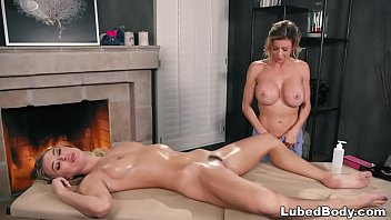 Busty client enjoys her first Thai massage # Natalia Starr and Alexis Fawx