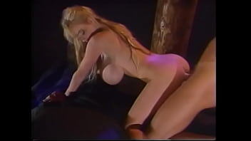 Curvaceous blonde bimbo with big knockers enjoys getting nailed with hard pecker of her lover and taking his load dropped on her buttocks