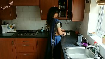 Blue saree daughter blackmailed to strip, groped, m. and fucked by old gran