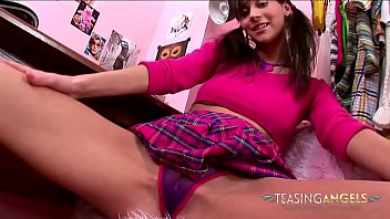 Dildo pigtail skirt Brunette teens long legs will make your balls ache