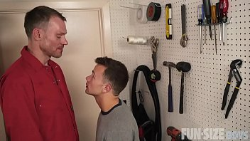 Big and tall gay shirts Funsizeboys - tiny twink fucked after being seduced by tall handyman