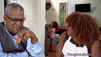 Father's Friend Fucks His Hot Ebony Daughter After Meal